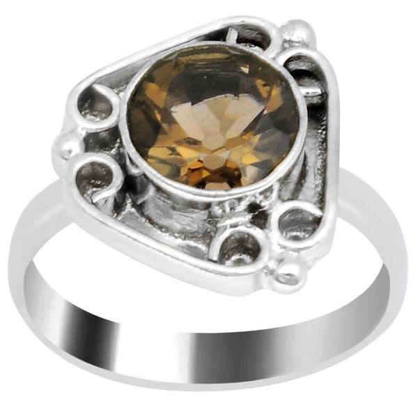 Quality Jewelry 2.95 Carat Weight Smoky Quartz White Gold Plated Fashion Ring