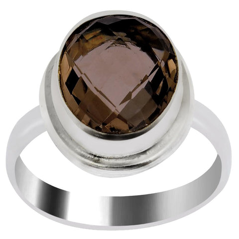 Quality Jewelry 4.00 Carat Smoky Quartz White Gold Plated Fashion Ring