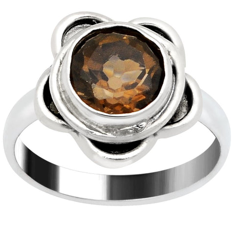 Quality Jewelry 1.80 Carat Smoky Quartz White Gold Plated Fashion Ring