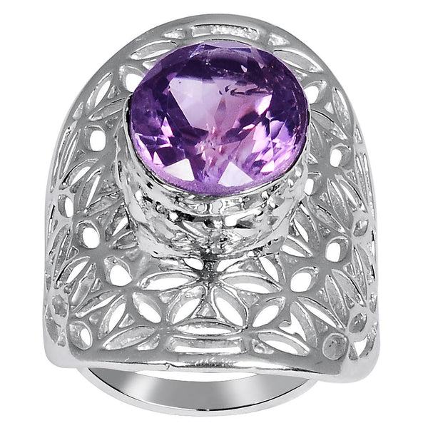 Quality Jewelry White Gold Plated 4.40 Carat Genuine Purple Amethyst Fashion Ring