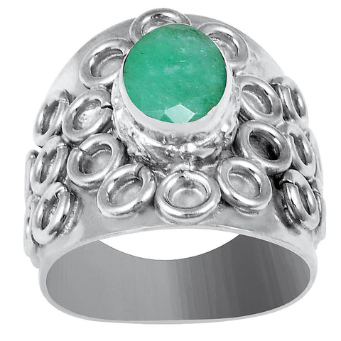 Quality Jewelry White Gold Plated 1.85 Carat Genuine Oval Cut Emerald Ring