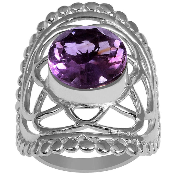 Quality Jewelry Silver White Gold Plated 4.35 Carat Genuine Oval Amethyst Ring