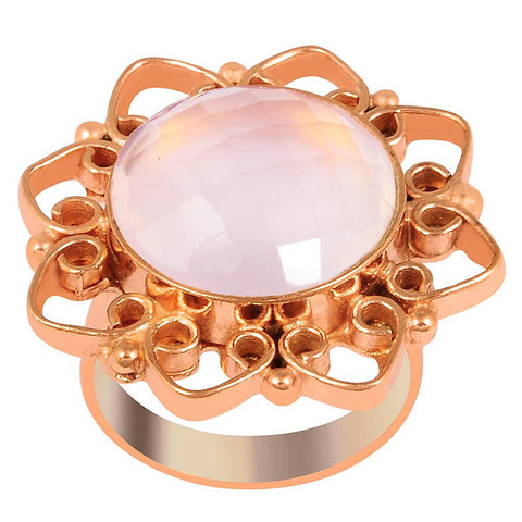 Quality Jewelry Rose Gold Plated 12.15 Carat Genuine Rose Quartz Ring