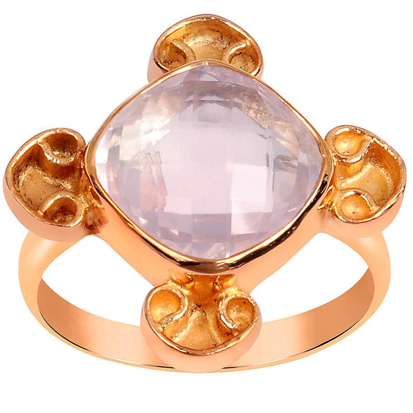 Quality Jewelry Rose Gold Plated 5.65 Carat Genuine Rose Quartz Ring