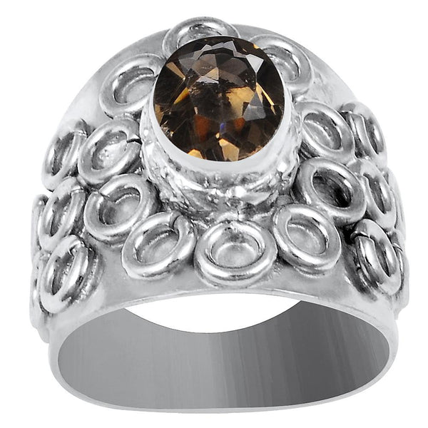Quality Jewelry White Gold Plated 1.75 Carat Genuine Smoky Quartz Fashion Ring