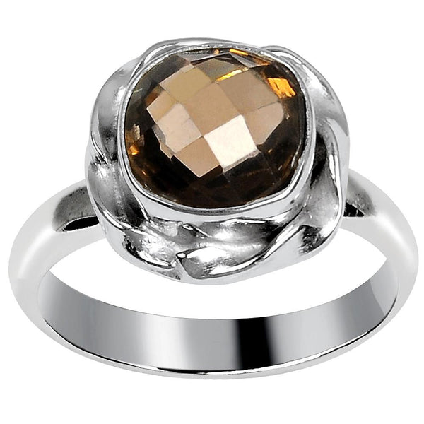 Quality Jewelry White Gold Plated 1.65 Carat Genuine Smoky Quartz Fashion Ring