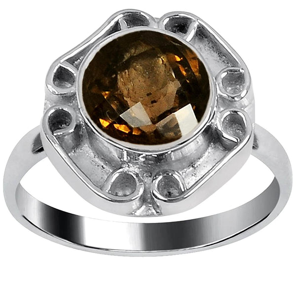 Quality Jewelry 2.60 Carat Weight Genuine Smoky Quartz Fashion Ring
