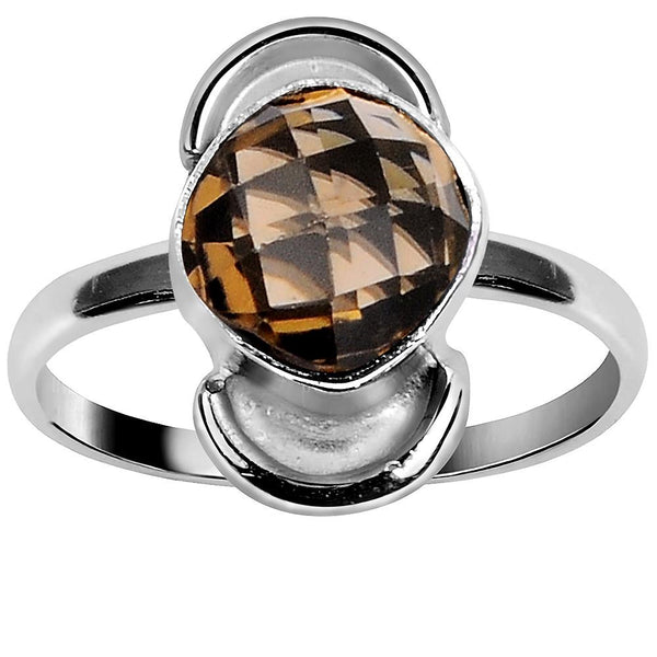 Quality Jewelry 1.65 Carat Smoky Quartz White gold Plated Fashion Ring