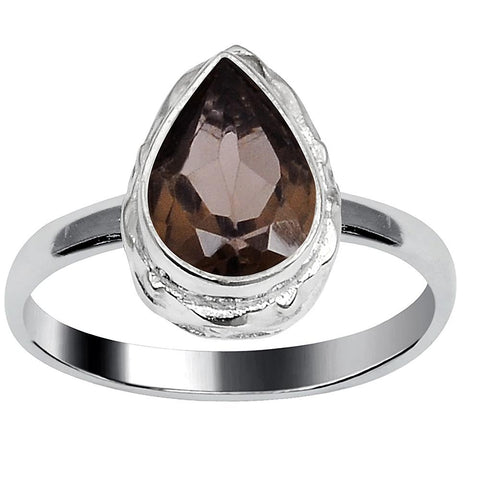 Quality Jewelry 1.50 Carat Weight Genuine Smoky Quartz Fashion Ring