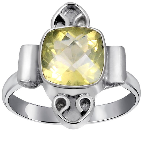 Quality Jewelry 2.30 Carat Lemon Quartz White Gold Plated Fashion Ring