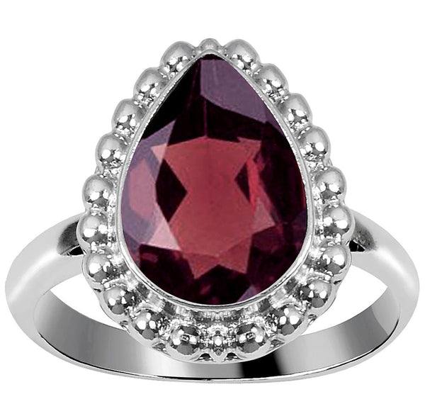 Quality Jewelry 3.30 Carat Garnet White Gold Plated Fashion Ring