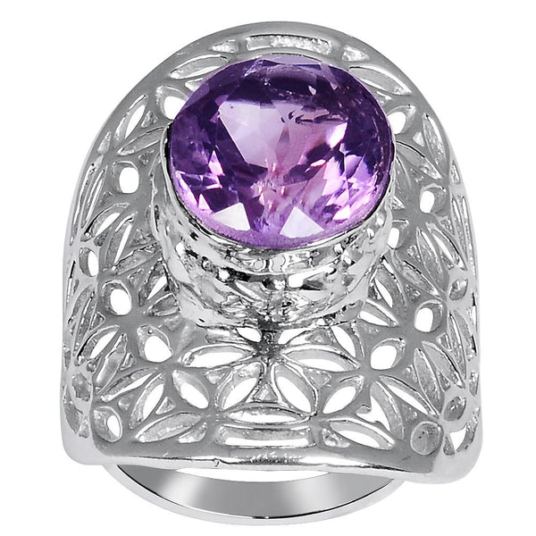 Quality Jewelry 4.40 Carat Amethyst White Gold Plated Fashion Ring