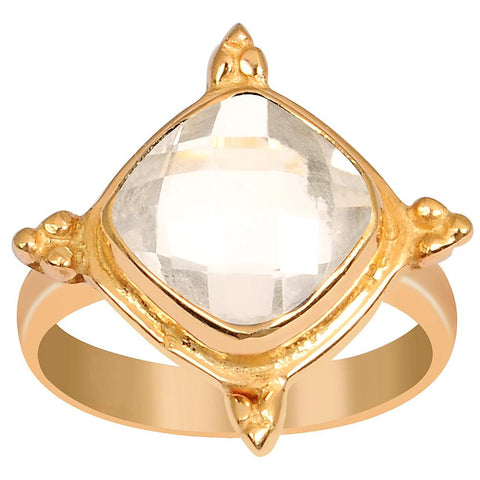 Quality Jewelry 3.30 Carat Rose Quartz Rose Gold Plated Fashion Ring
