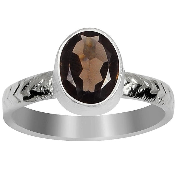 Quality Jewelry 1.15 Carat Smoky Quartz White Gold Plated Fashion Ring