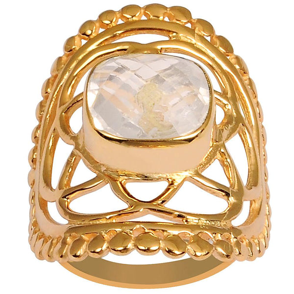 Quality Jewelry 3.35 Carat Rose Quartz Rose Gold Plated Fashion Ring