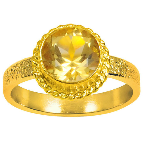 Quality Jewelry 1.05 Carat Genuine Citrine Yellow Gold Plated Fashion Ring