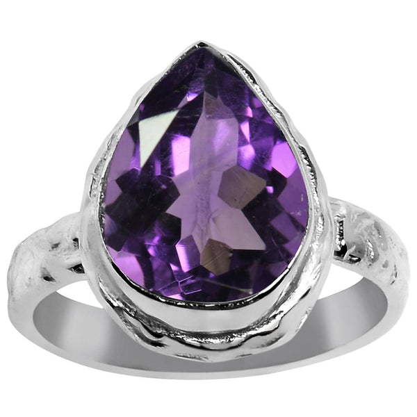 Quality Jewelry 5.60 Carat Genuine Amethyst White Gold Plated Fashion Ring