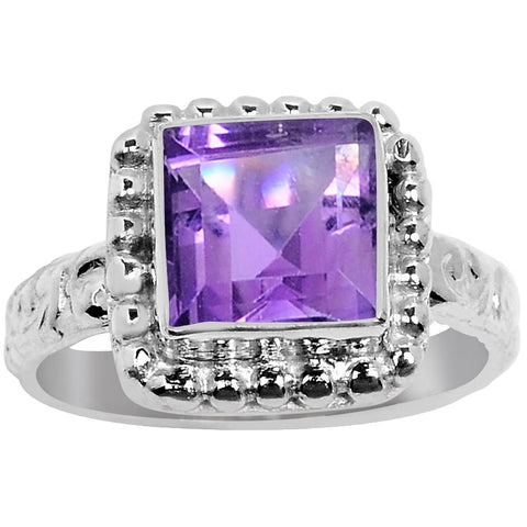 Quality Jewelry 2.90 Carat Amethyst White Gold Plated Fashion Ring
