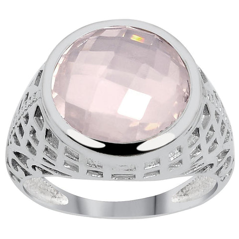 Quality Jewelry 5.45 Carat Genuine Rose Quartz Fashion Ring with White Gold Plated