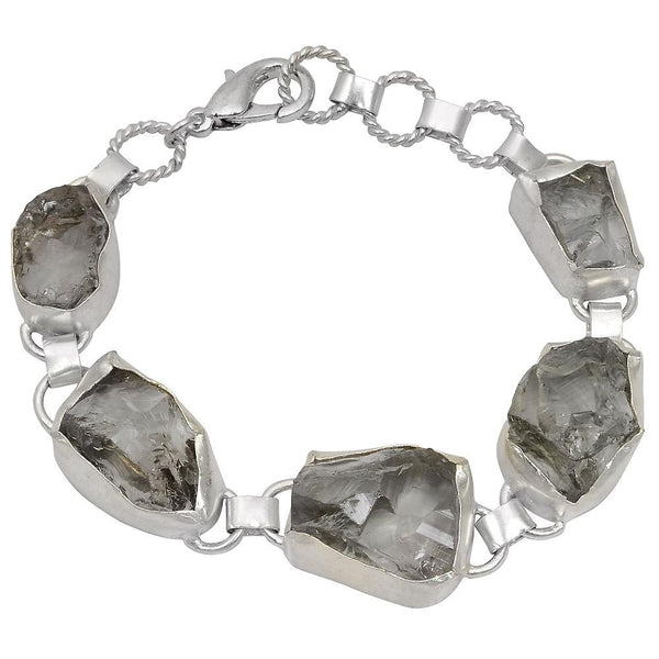 Quality Jewelry White Gold Plated 85.00 Carat Green Amethyst Brass Bracelet