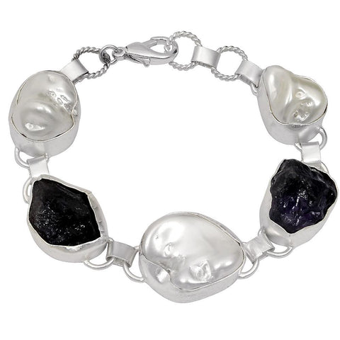 Quality Jewelry White Gold Plated 120.00 Carat Amethyst and Pearl Fashion Bracelet
