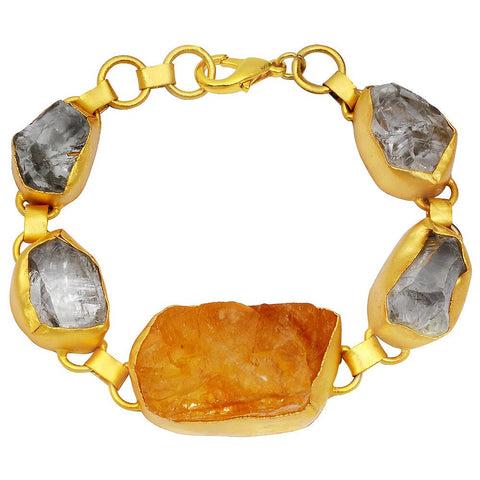 Quality Jewelry 135.00 Carat Citrine and Crystal Quartz Bracelet with 14K Yellow Gold Plated