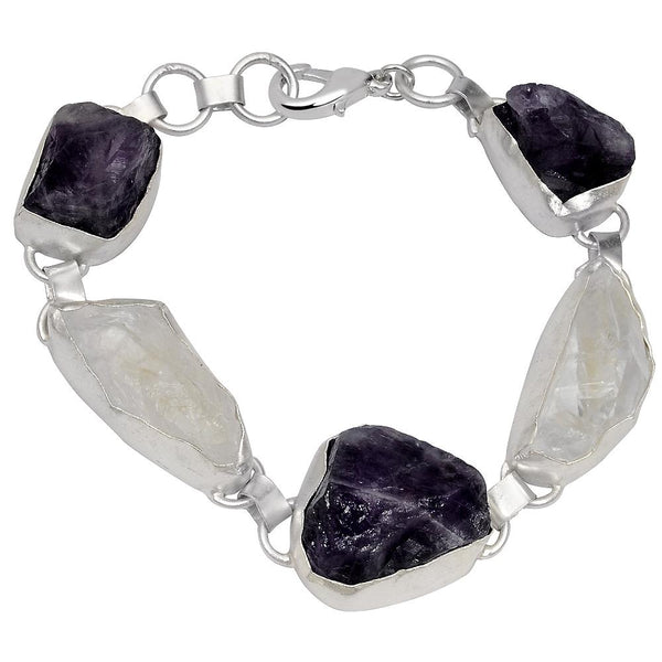 Quality Jewelry 117.00 Carat Genuine Amethyst & Crystal Fashion Bracelet