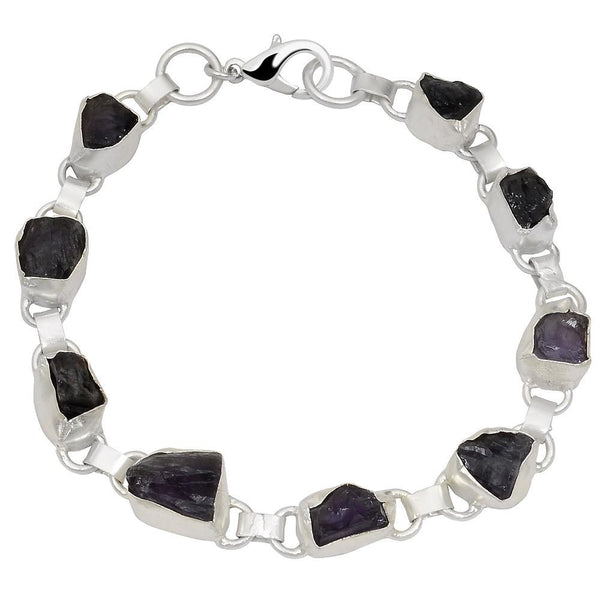 Quality Jewelry White Gold Plated 55.00 Carat Amethyst Bracelet