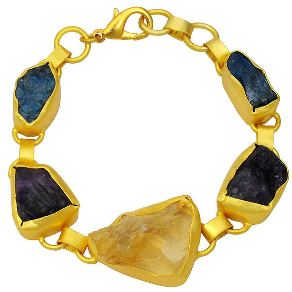 Quality Jewelry Yellow Gold Plated 70.00 Carat Citrine, Amethyst and Appetite Bracelet