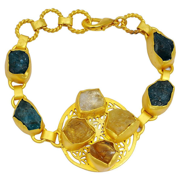 Quality Jewelry Yellow Gold Plated 90.00 carat Citrine and Appetite Brass Bracelet