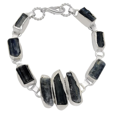 Quality Jewelry White Gold Plated 110.00 Carat Kyanite Bracelet