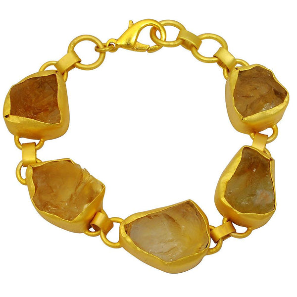 Quality Jewelry 70.00 Carat Citrine Fashion Bracelet with 14K Yellow Gold Plated