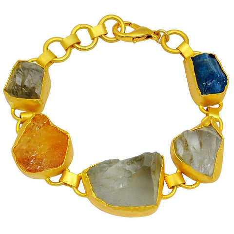 Quality Jewelry 80.00 Carat Green Amethyst, Citrine and Appetite Raugh Stone Bracelet with 14K Gold Plated
