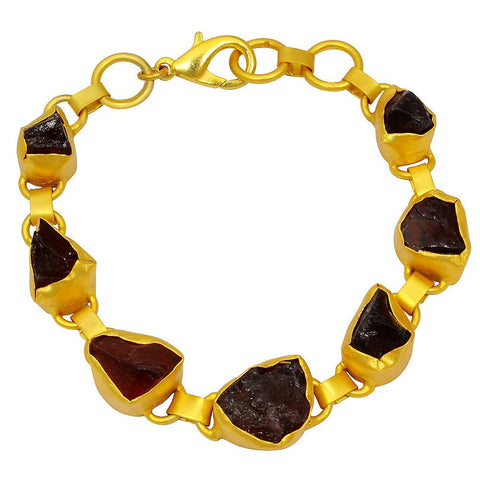 Quality Jewelry 50.00 carat Garnet Fashion Bracelet with 14K Yellow Gold Plated