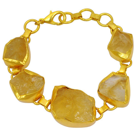 Quality Jewelry Yellow Gold Plated 90.00 Carat Genuine Citrine Fashion Bracelet