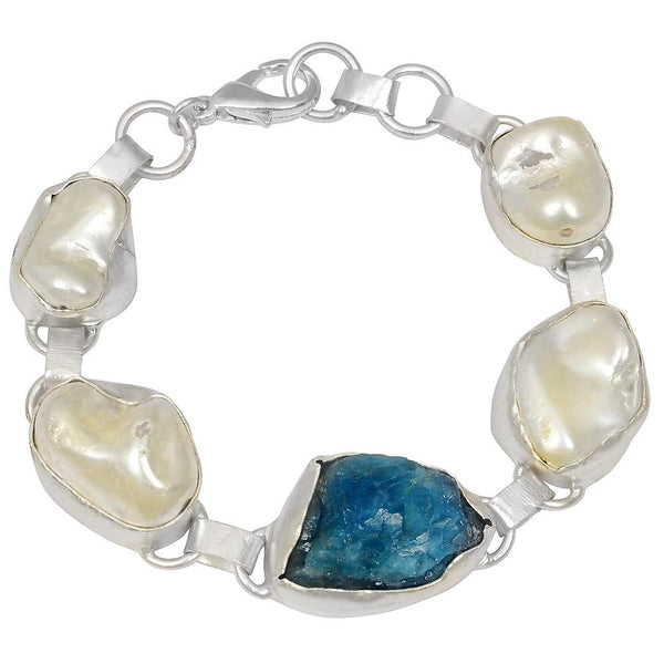 Quality Jewelry White Gold Plated 80.00 Carat Pearl and Apatite Bracelet in Brass