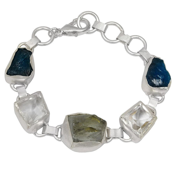 Quality Jewelry 60.00 carat Green Amethyst, Crystal Quartz and Apatite Bracelet
