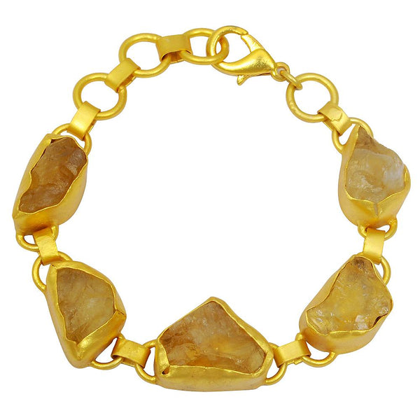 Quality Jewelry 60.00 Carat Genuine Citrine Fashion Bracelet With Gold Plated