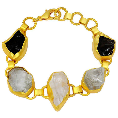 Quality Jewelry Yellow Gold Plated 65.00 Carat Genuine Crystal Quartz, Smoky Quartz and Green Amethyst Bracelet