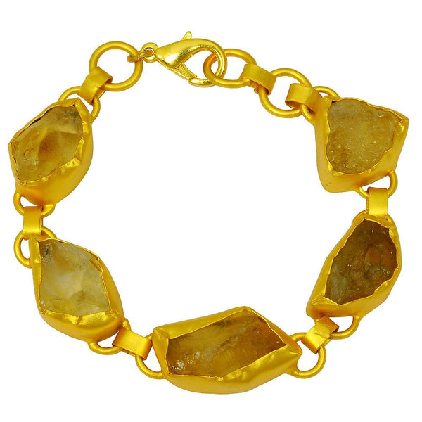 Quality Jewelry 57.00 Carat Citrine Fashion Bracelet with 14K Yellow Gold Plated