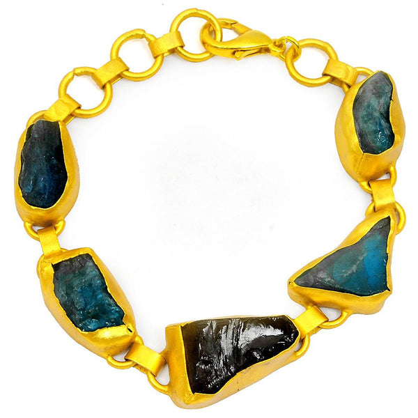 Quality Jewelry 65.00 Carat Appetite and Smoky Quartz Fashion Bracelet with 14K Yellow Gold Plated