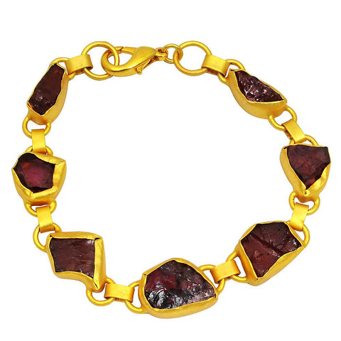 Quality Jewelry 40.00 Carat Garnet Fashion Bracelet with 14K Yellow Gold Plated
