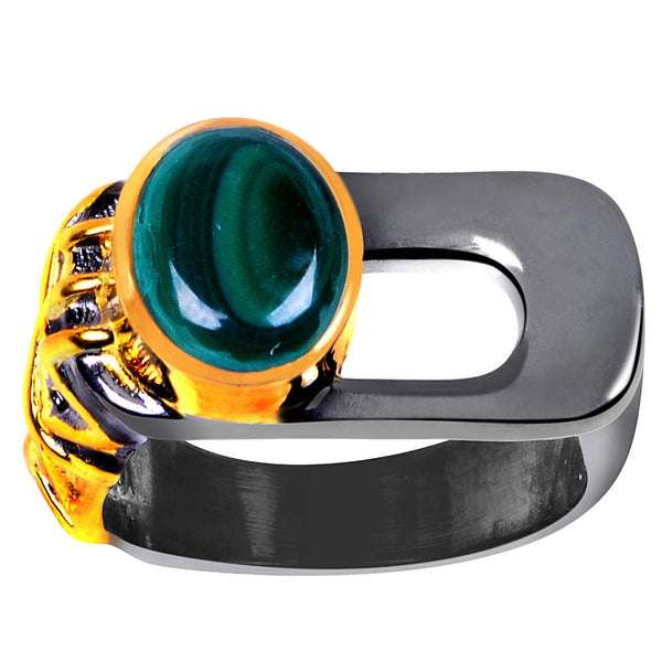 Quality Jewelry 3.50 Carat Malachite Two-Tone Plated Ring