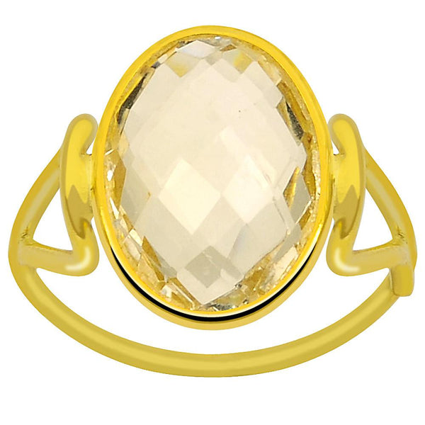 Quality Jewelry 4.90 Carat Citrine Yellow Gold Plated Fashion Ring