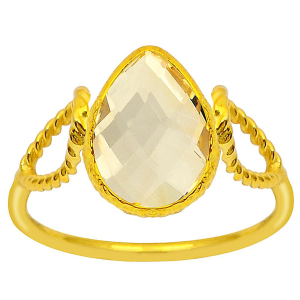Quality Jewelry 2.60 Carat Citrine 14k Yellow Gold Plated Fashion Ring