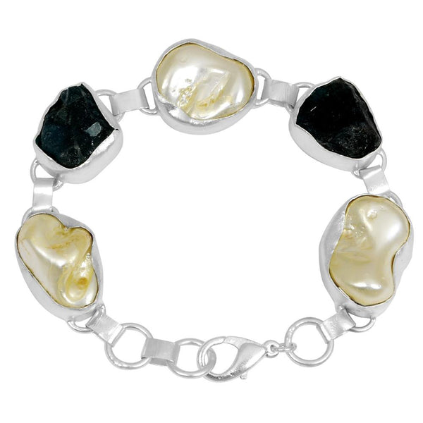 Quality Jewelry White Gold Plated 122.00 Carat Appetite and Pearl Bracelet