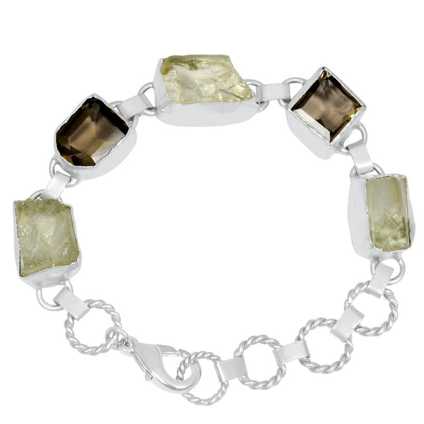 Quality Jewelry 55.00 Carat Green Amethyst and Smoky Quartz Fashion Bracelet