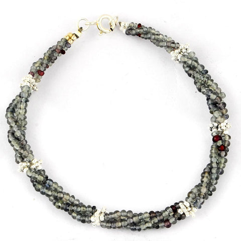 Orchid Jewelry 35.00 Carat Genuine Gemstone Beaded Bracelet in Sterling Silver