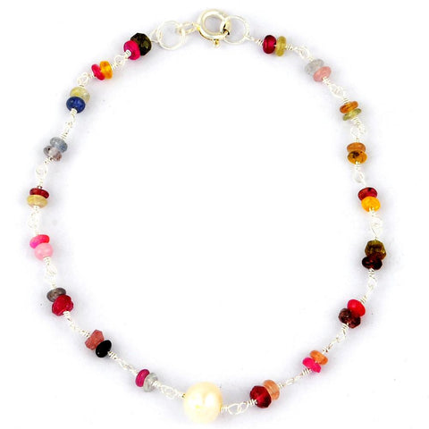 Orchid Jewelry Silver Plated 11.15 Carat Multi color Sapphire Beaded Bracelet