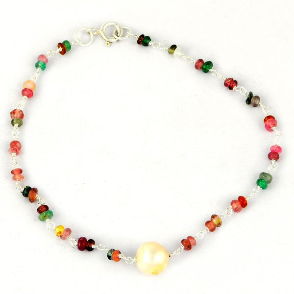Orchid Jewelry 925 Sterling Silver 8.70 Carat Genuine Gemstone Beaded Sapphire and Pearl Bracelet